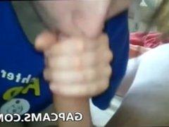 Amateur teen gives blowjob and handjob on webcam