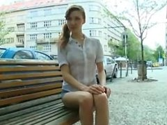 Kristina is awaiting patiently on a park bench waiting for her sexy man