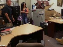 Busty Cuban chick tries to pawn TV but ends up fucking