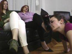 licking mistress' sweaty foot