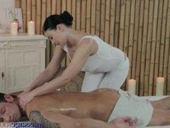 Massage Rooms Big boobs masseuse enjoys 69 before giving horny foot job