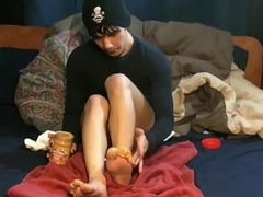 Naked guys He slathers the peanut butter all over his toes before