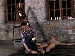 Gay XXX Chained to the warehouse floor and unable to escape his ,