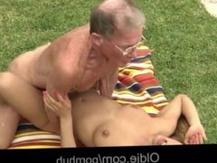 Big dick aged senior drills Nikky's young ass and pussy