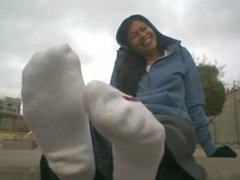 Chick Showing Socks after Training in Public