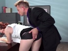 Hot secretary gets spanked in the ass and fucked by a massie cock