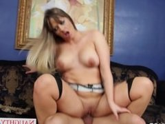Babe in pantyhose Holly Heart gives blowjob