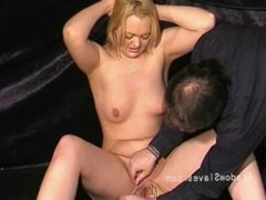 Blonde fetish slave Donna Dennieres whipping and tit torture of debutant bd