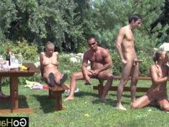 Three Couple Outdoor Garden Fuck Party 3