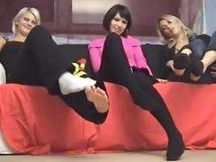 3 girls in black and white socks
