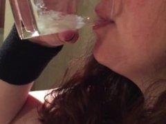 "Slutwife downs a vodka ""Cumtini"""