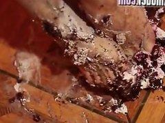 sexy women eats cake off her foot mmmm