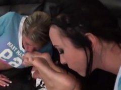 Lesbians worship Nikki's socks