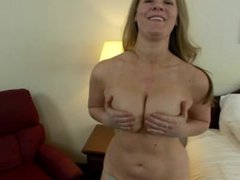 Thick naturally busty MILF POV anal fuck