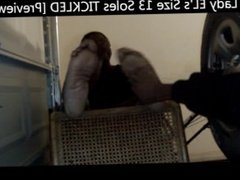 Lady EL's Size 13 Soles TICKLED [Preview]