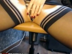 Sexy officer lady strip tease webcam