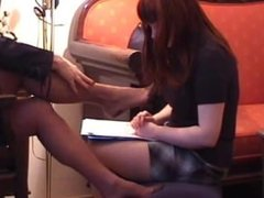sniffing Lady's feet 1