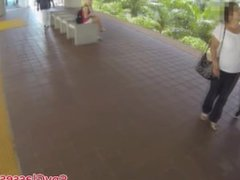 Pulled amateur college babe takes cash for spycam sex