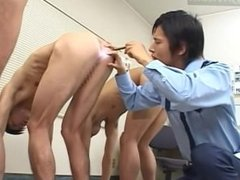 Guard Plays with Prisoner's Ass With Latex Gloved Fingers