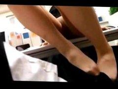 Japanese office lady pantyhose worship and footjob