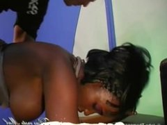 Sexy ebony babe gets shared just like a good bukkake girl