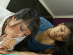 Real asian stepmom and teen sucking cock