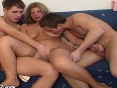 Mature Mother fucks with 2 young boys after school