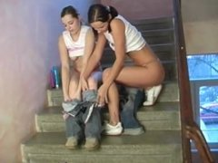 Young lesbos plowing in a hallway