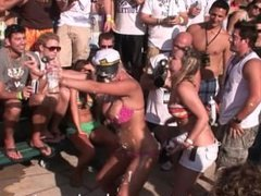 spring break wet tshirt contest getting broken up by the police