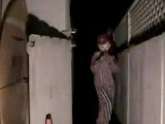 Sexy clown girl lap dances on cam