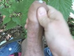 At the park jerk-off with a stinging nettle