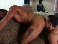 Handsome jocks Alex Cox and Tristan Jaxx screwing their asses on the couch