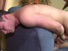 Excited gay Richie Sabatini jerking off his cock and toying his asshole