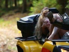 Gorgeous Ella in wetlook body taking a ride