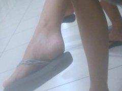 Candid feet in flip flop
