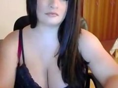 Babe with huge tits teases on cam
