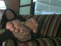 big feet on couch