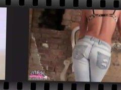 Beautiful petite teen Carolina in tight blue jeans