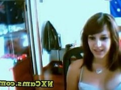 Girl Trying to selflick her nips on Chatroulette