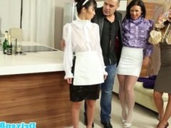 Maid Marika Hase used as fuck toy in kitchen