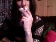 Smoking with white long nails (Old video)