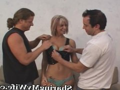 Wild Threesome With Wife, Hubby and New Guy
