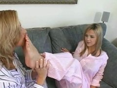 Mother worship daughter's feet in the morning