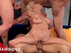 Group sex horny blonde fucked by big-cocks