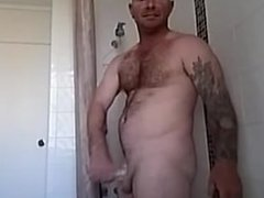 white cock in shower