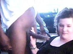 White girl gagging on bbc on webcam.