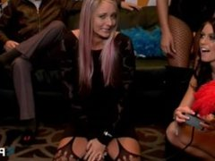 4 short Sybian rides in the in the PornHub booth at 2015 AVN. Staci Carr!