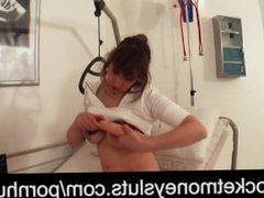 Brunette young bitch in exessive dildo and fetish games on hospital bed