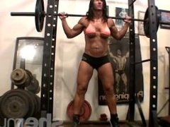 Hot Bodybuilder Working Out In Gym