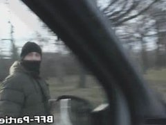 Teens sucking stranger during roadtrip